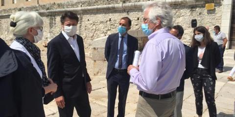 Christian Estrosi, Roger Roux et André Bezzina en visite à l'IMEV à l'occasion de la Journée Mondiale de l'Océan